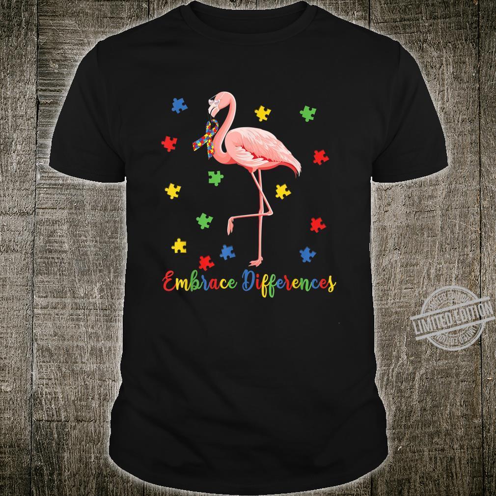 Embrace Differences Flamingo Cute Flamingo Autism Awareness Shirt