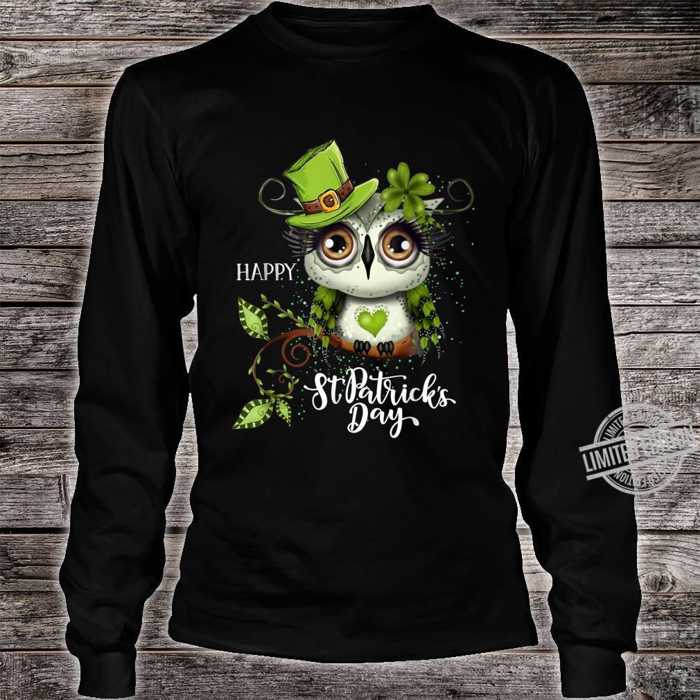 Funny Leprechaun Owl St Patricks Day Shirt long sleeved